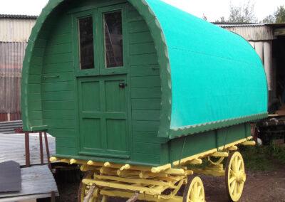 Painted handbuilt portable wooden Gypsy Caravan - Martin Symes