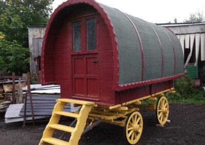 Painted portable wooden Gypsy Caravan - Martin Symes