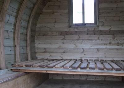 Interior of handmade wooden gypsy caravan